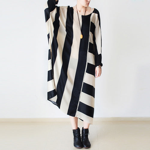 2021 autumn trend stripe baggy dresses silk plus size caftans oversized cotton gown