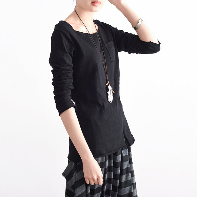 2021 autumn tunic cotton shirts black long sleeve woman tops blouse side open
