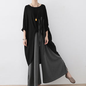 2017 autumn wide leg pants super loose linen pants casual elastic waist oversized