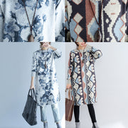 2021 autumn winter gray print woolen knit dresses plus size slim fit sweater dress side open