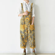 2021 autumn yellow print jumpsuits cotton pants oversize casual fall outfits
