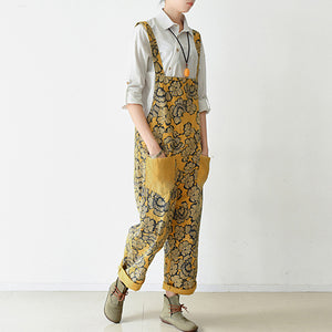 2017 autumn yellow print jumpsuits cotton pants oversize casual fall outfits