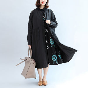 2017 black casual cotton coat plus size unique outwear long sleeve clothes