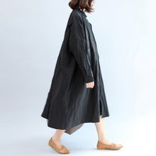 Afbeelding in Gallery-weergave laden, 2017 black casual cotton coat plus size unique outwear long sleeve clothes