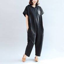 2017 black casual cotton hooded short sleeve tops and jumpsuit jeans