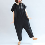 2021 black casual cotton hooded short sleeve tops and jumpsuit jeans