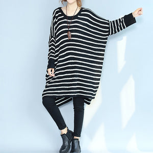 2017 black casual cozy sweater dresses low high plus size o neck knit pullover dress