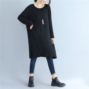 2017 black cotton casual pullover dresses plus size solid o neck maternity dress