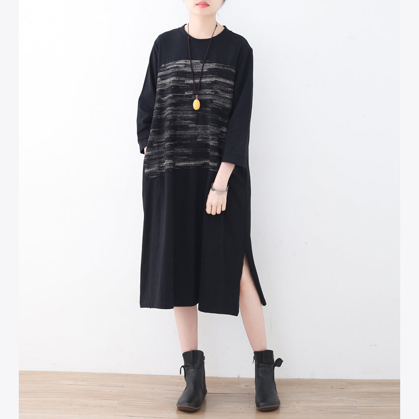 2021 black cotton knee dress oversized traveling dress boutique side open striped cotton dresses