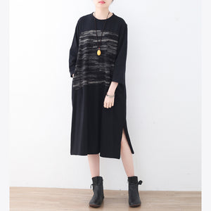 2017 black cotton knee dress oversized traveling dress boutique side open striped cotton dresses