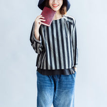 Load image into Gallery viewer, 2017 black gray striped linen tops plus size linen casual long sleeve t shirts