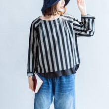 2017 black gray striped linen tops plus size linen casual long sleeve t shirts