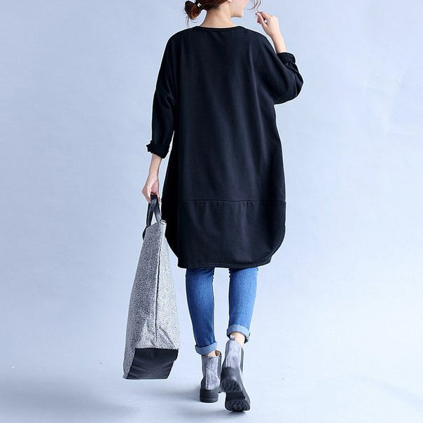 2021 black prints cotton casual dresses oversize big pockets traveling dress