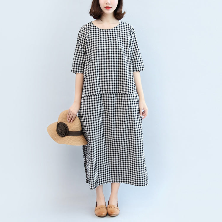 2017 black white plaid cotton dresses baggy loose half sleeve maxi dress side open