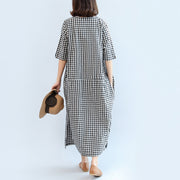 2021 black white plaid cotton dresses baggy loose half sleeve maxi dress side open