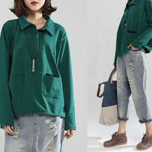 Load image into Gallery viewer, 2017 blackish green cotton casual tops baggy loose patchwork shirt tops