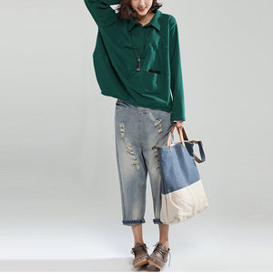 2017 blackish green cotton casual tops baggy loose patchwork shirt tops
