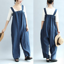 Load image into Gallery viewer, 2017 blue casual linen pants oversize stylish jumpsuit pants