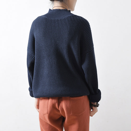 2021 blue chunky winter sweaters short knit tops oversized knit pullover