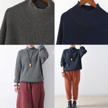 Load image into Gallery viewer, 2021 blue chunky winter sweaters short knit tops oversized knit pullover