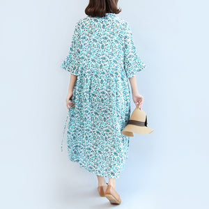 2017 blue print linen dresses plus size casual maxi dress