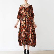 Load image into Gallery viewer, 2021 brown prints cotton dress plus size clothing o neck cotton clothing dresses