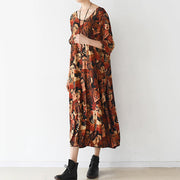 2021 brown prints cotton dress plus size clothing o neck cotton clothing dresses