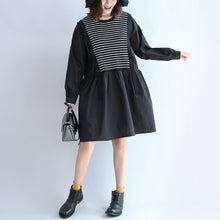 2017 dark striped knit patchwork cotton dresses plus size o neck casual dress