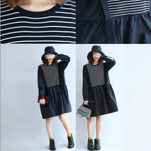 Load image into Gallery viewer, 2017 dark striped knit patchwork cotton dresses plus size o neck casual dress