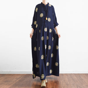 2017 fall Navy embroidered cotton dresses oversized linen gown caftans traveling