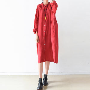 2017 fall Plus size linen dresses cute linen shirt dress maternity dresses