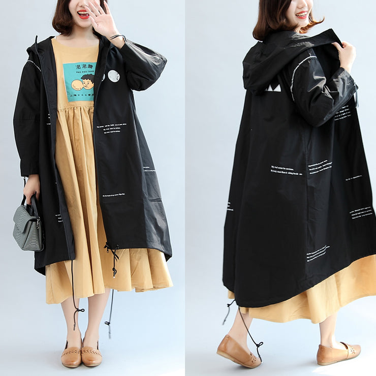 2021 fall black alphabet print cotton blouse oversize long sleeve hooded coat