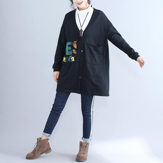 2017 fall black alphabet print cotton coat plus size v neck hooded cardigans outwear