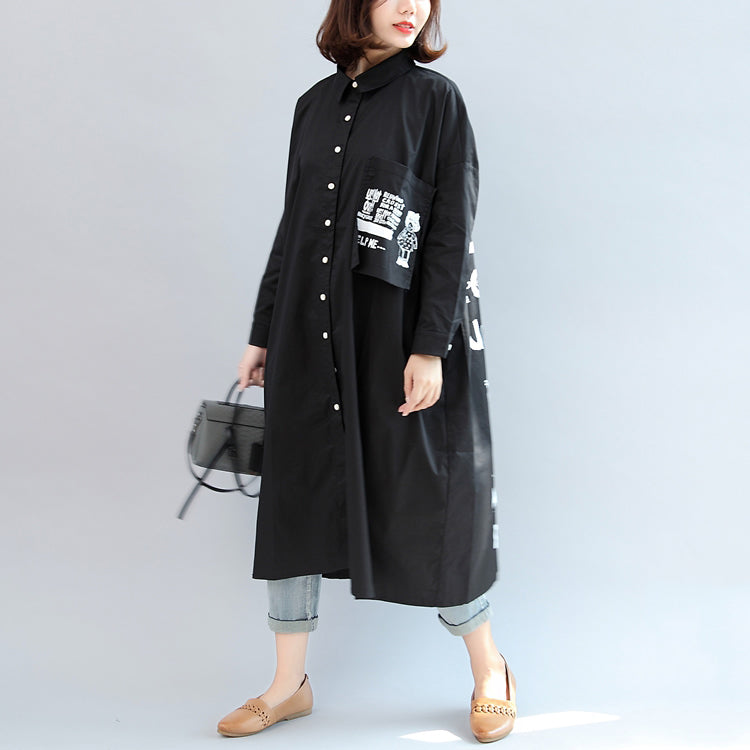 2017 fall black animal print cotton tops oversize o neck shirt dress