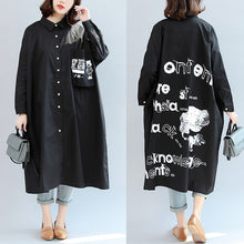 Load image into Gallery viewer, 2017 fall black animal print cotton tops oversize o neck shirt dress