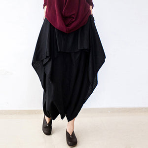 2017 fall black carrot pants oversized linen pants casual layered pants elastic waist