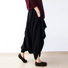Load image into Gallery viewer, 2017 fall black carrot pants oversized linen pants casual layered pants elastic waist