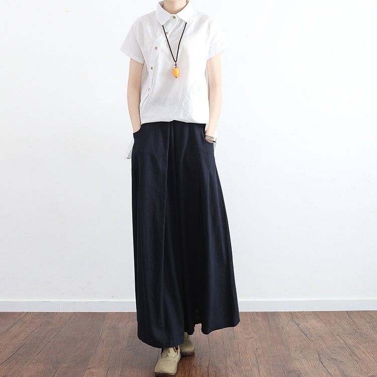 2021 fall black plus size linen skirts oversize pleated skirts long