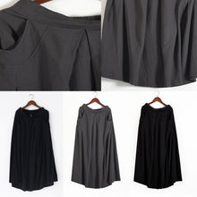 Load image into Gallery viewer, 2017 fall black plus size linen skirts oversize pleated skirts long