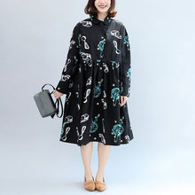 2017 fall black print cotton outwear plus size casual long sleeve warm clothes