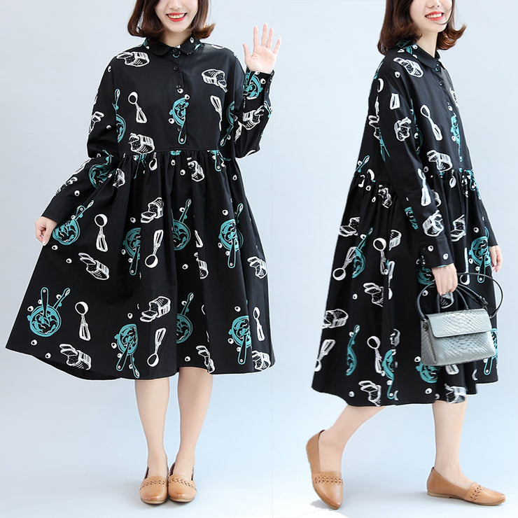 2021 fall black print cotton outwear plus size casual long sleeve warm clothes