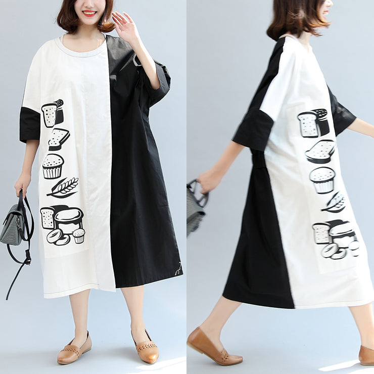 2021 fall black white patchwork cotton dresses oversize print warm outfits