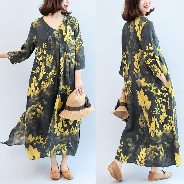 2017 fall black yellow print linen dresses plus size v neck sundress side open