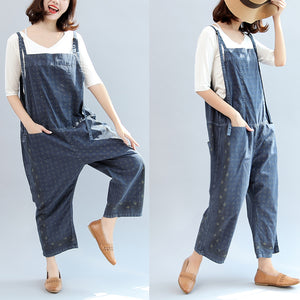 2017 fall blue print cotton pants plus size jumpsuit pants