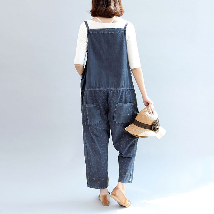 2021 fall blue print cotton pants plus size jumpsuit pants
