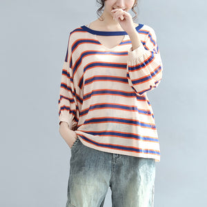 2017 fall blue striped casual cotton blouse oversize v neck tops
