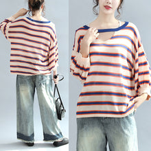 Load image into Gallery viewer, 2017 fall blue striped casual cotton blouse oversize v neck tops