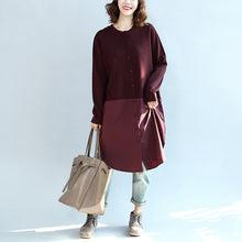 Load image into Gallery viewer, 2017 fall burgundy patchwork hem cotton sweater dresses plus size casual knit shirts dress