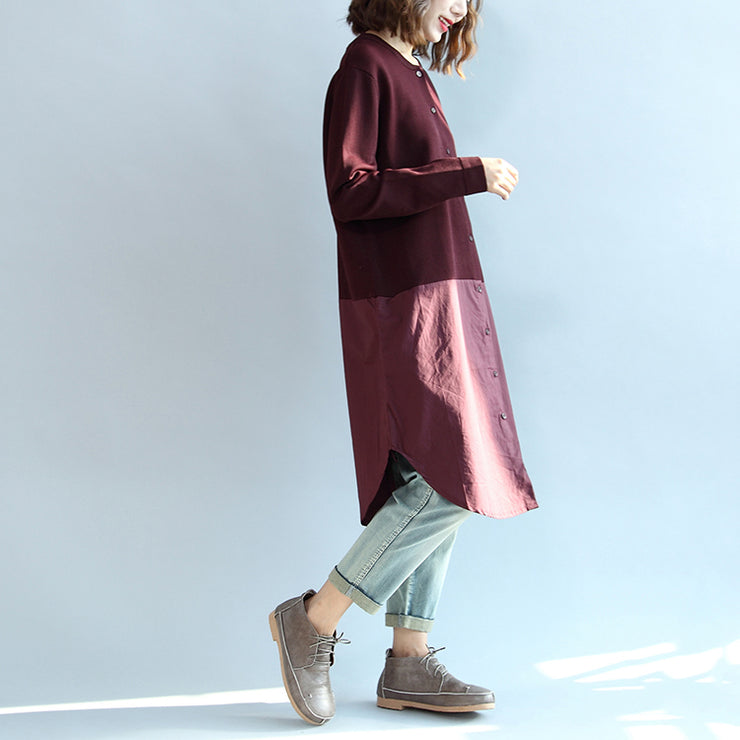 2021 fall burgundy patchwork hem cotton sweater dresses plus size casual knit shirts dress