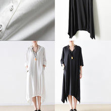 Load image into Gallery viewer, 2017 fall cotton dresses V neck plus size white dresses beads details black cotton dresses